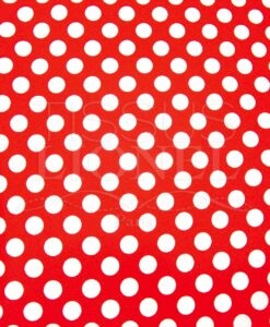 POLYCOTTON PRINTED RED BACKGROUND BIG WHITE PEAS