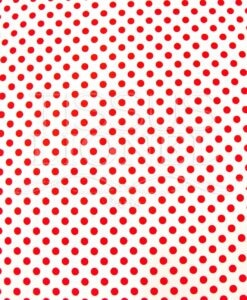 POLYCOTTON PRINTED WHITE BACKGROUND RED DOTS