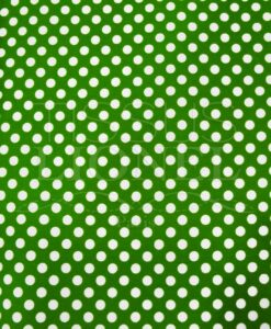 POLYCOTTON PRINTED GREEN PEAS WHITE BACKGROUND