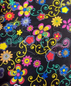 Carnival flowers and colorful patterns on black