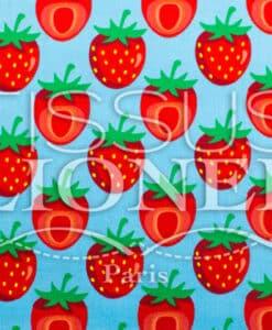 Coton imprime Fruits and co Fraise fond bleu cie