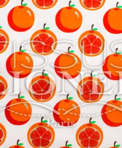 Coton imprime Fruits and co Orange fond blanc