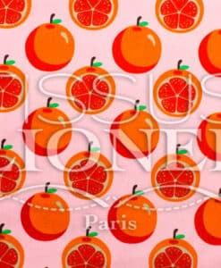 Coton imprime Fruits and co Orange fond rose