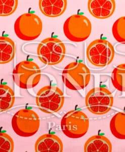 Algodón imprime Frutas y fondo rosa naranja co