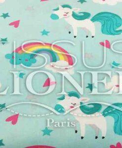Coton imprime Licorne turquoise