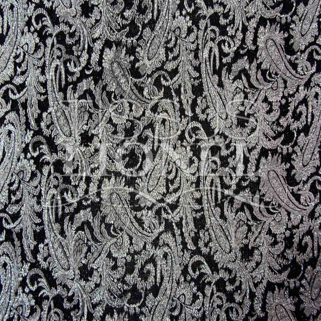 jacquard fond noir dessin cachemire argent 1 tissus lionel. Black Bedroom Furniture Sets. Home Design Ideas