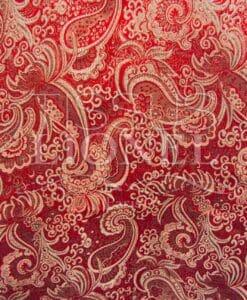 Jacquard lurex rojo y plata