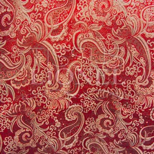 Jacquard lurex rouge et argent