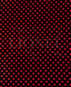 POLYESTER PRINTED BLACK BACKGROUND RED DOTS