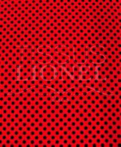 POLYESTER PRINTED PEAS BLACK RED BACKGROUND