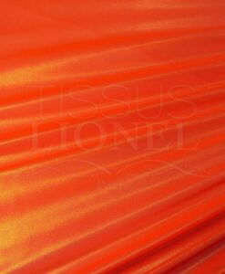 Résille laqué pailleté fond orange fluo pailleté or