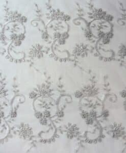 TULLE EMBROIDERED WHITE PEARL 01