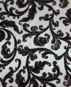 Tulle argent floqué velours noir strass argent haute couture