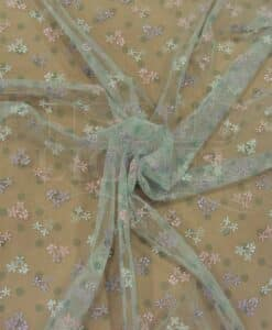 Tulle embroidered pale green and pink