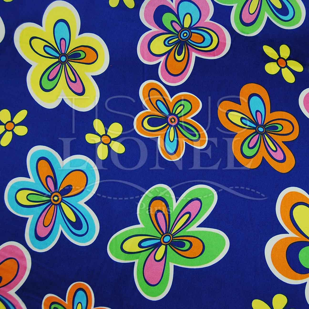 Carnevale Fiori Su Blu Colorato Lionel Tessuti