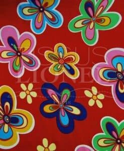carnaval fleurs colorés sur fond rouge