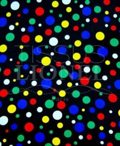 carnival multicolored dots on black background