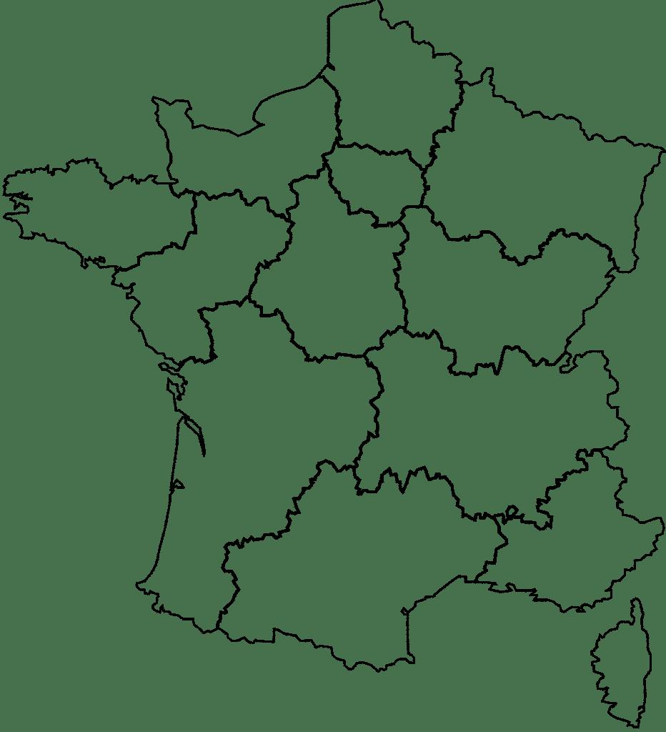 Kaart van Frankrijk Tissus Lionel