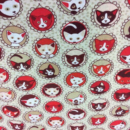 Tissu coton motif imprimé chat rouge
