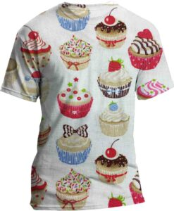 White cotton Cupcake pattern