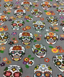 pattern printed cotton fabric gray skull