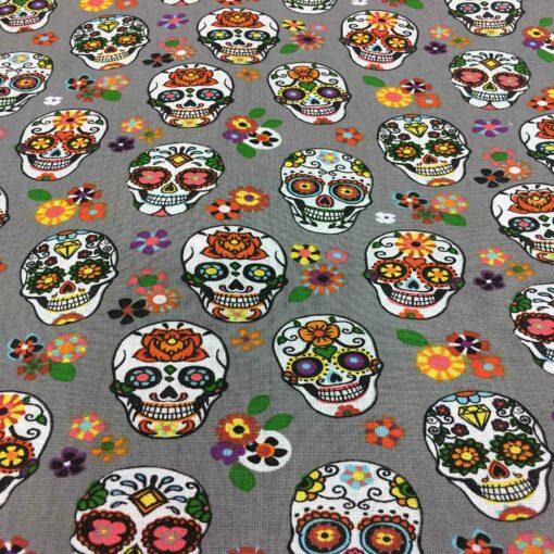 Tissu coton motif imprimé calavera gris