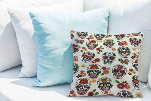 Tissu coton motif imprimé calavera blanc