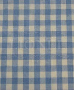 printed cotton gingham blue sky 011