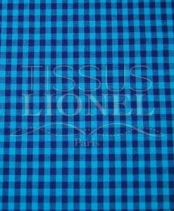 gingham printed dark blue cotton 010