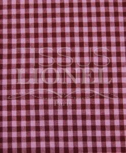 printed cotton gingham burgundy and pink 017