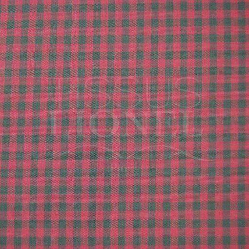 coton imprimé vichy fushia et vert 018