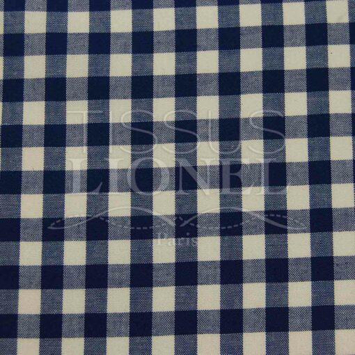 coton imprimé vichy marine 012