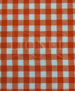 orange gingham print cotton 019