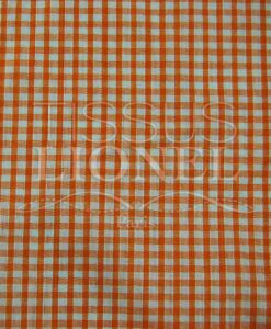 coton imprimé vichy orange 020