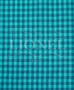 turquoise gingham print cotton 006