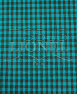 turquoise gingham print cotton 007