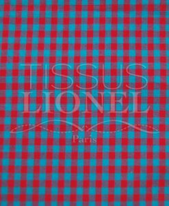 cotton printed turquoise and red gingham 016