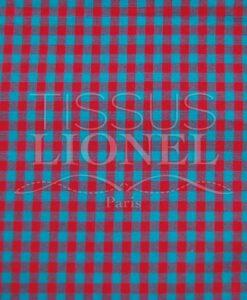 coton imprimé vichy turquoise et rouge 016