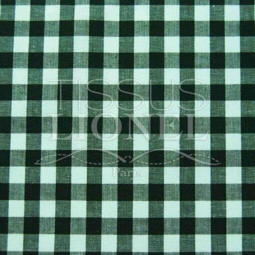 coton imprimé vichy vert foncé 005