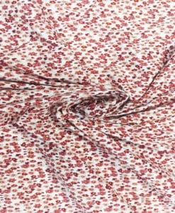 Coton imprimé fleuris ton bordeaux1