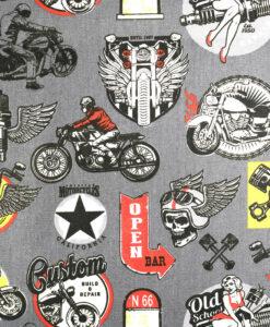 Tissu coton imprimé moto gris