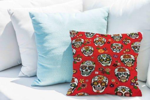 Tissu coton motif imprimé calavera rouge