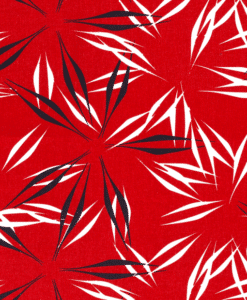 Tissu lin viscose imprimé feuilles roug