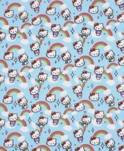 tissu coton hello kitty turquoise