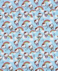 hello kitty бирюзовая хлопковая ткань