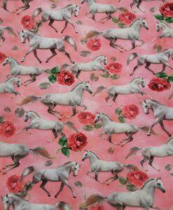 Tissu jersey de coton cheval rose