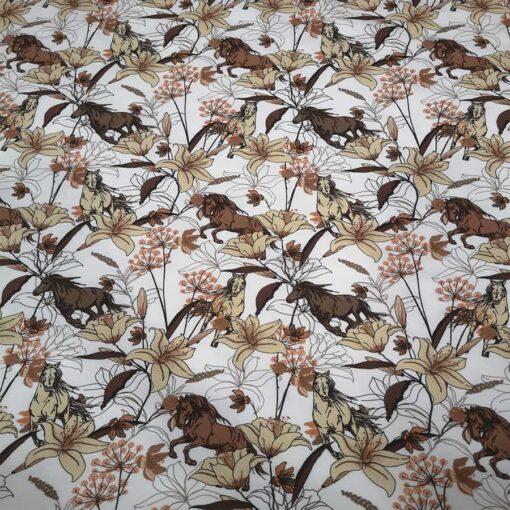 Tissu jersey de coton fleurs et chevaux
