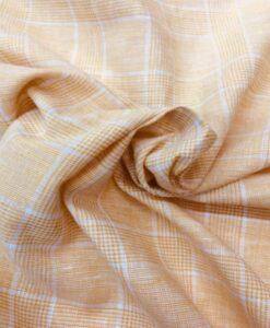 Tissu lin carreaux pêche