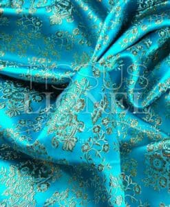 jacquard lurex turquoise et or