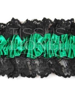 jartelle vert avec dentelle noir